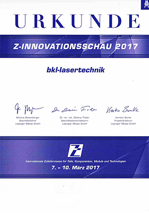 Zertifikat ZInnovationsschau